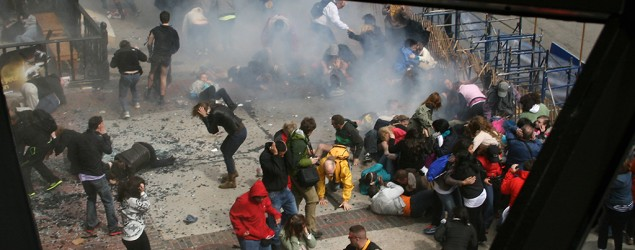 The scene following an explosion at the 2013 Boston Marathon in Boston. (Ben Thorndike/AP)