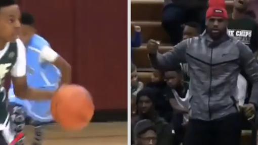 11-year-old LeBron James Jr. is shooting threes from the logo already