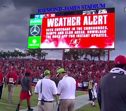 The Rams-Buccaneers game was delayed at the 2-minute warning because of lightning