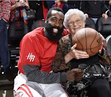James Harden gave a soon-to-be 100-year-old Rockets fan the game ball after beating the Bucks
